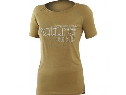 Lasting dámské merino triko s tiskem NATURAL pískové