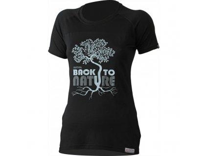 Lasting dámské merino triko s tiskem BACK černé