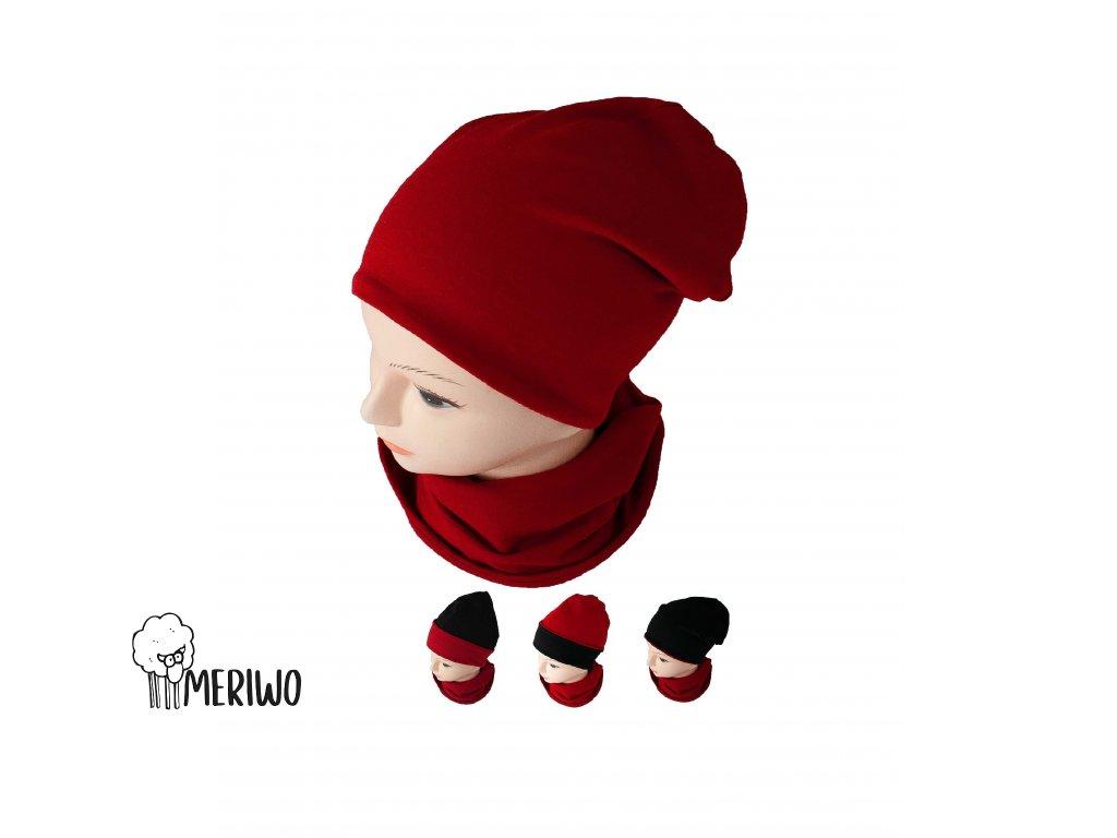 MERIWO Merino čepice HOMELESS oboustranná 4v1 černá/červená