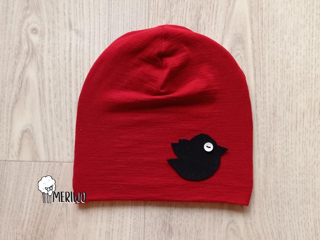 Čepice merino cervena ptacek2