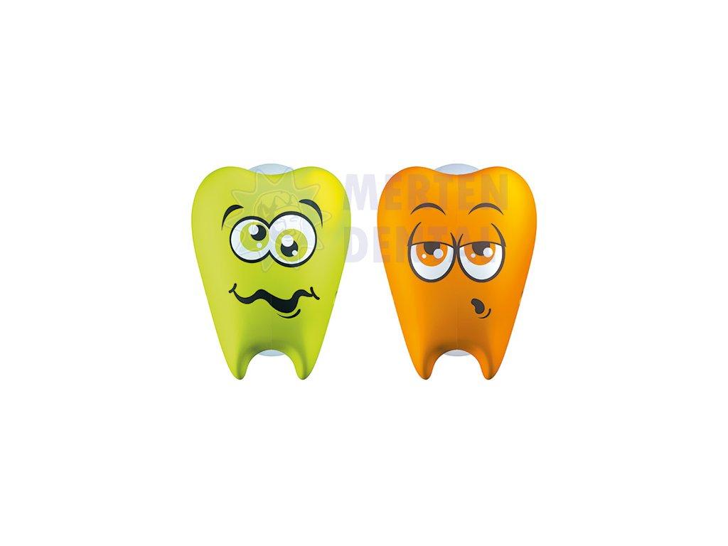 3354 flipper zoubky svetle zeleny a oranzovy krytky na zubni kartacky 2ks