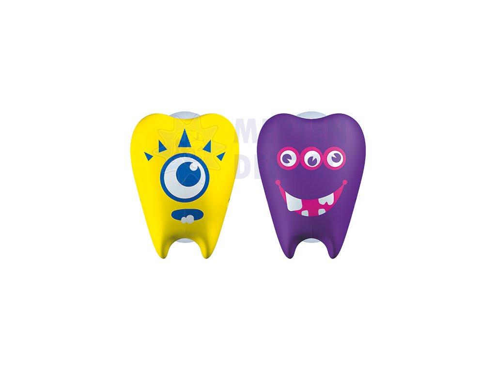 3369 flipper zoubky zluty a fialovy krytky na zubni kartacky 2ks