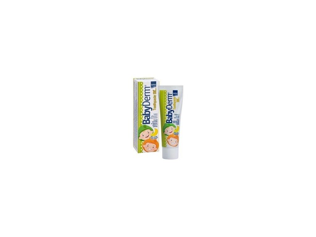 4296 babyderm s fluoridy detska zubni pasta bananova 50ml