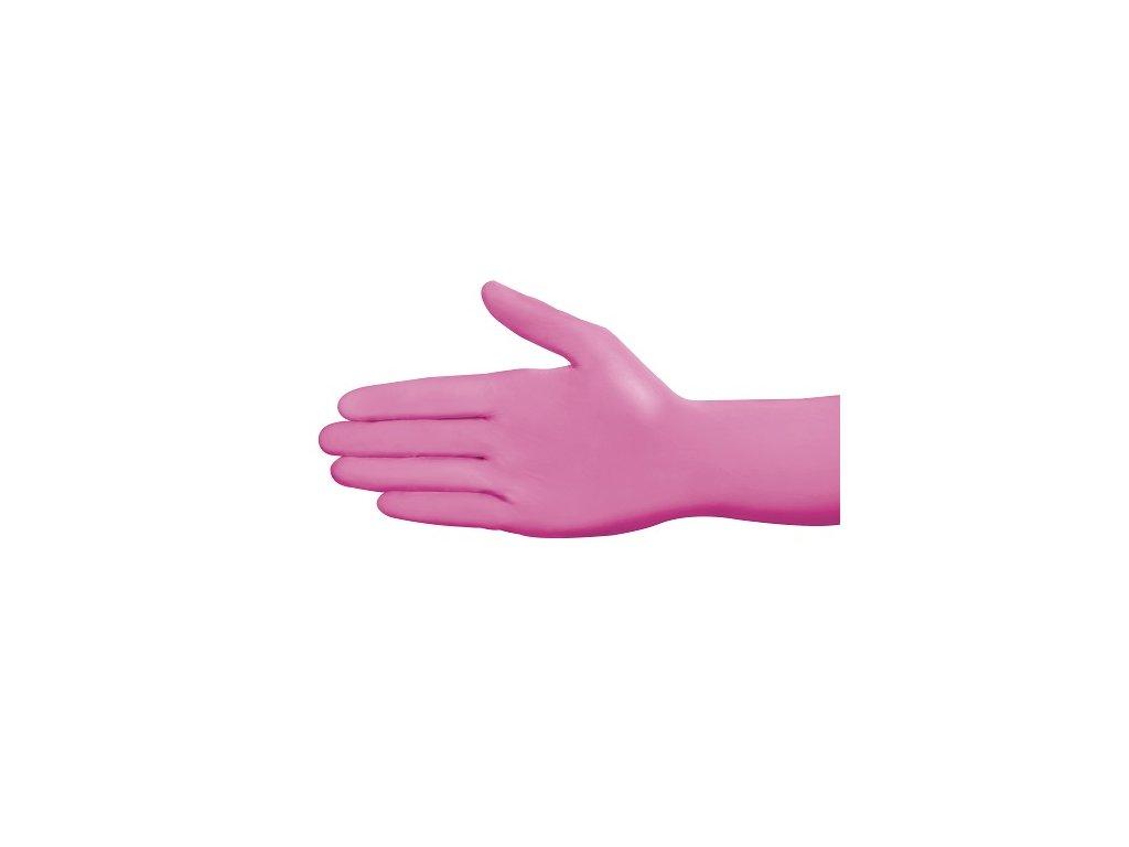 4326 ampri style nitril rukavice tmave ruzove s nepudrovane 100ks