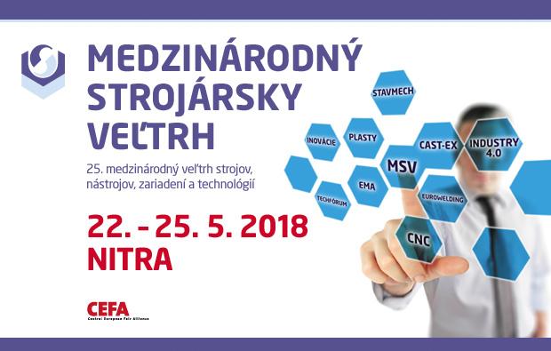 22. - 25. 5. 2018 - 25. Mezinárodní strojírenský veletrh NITRA 2018
