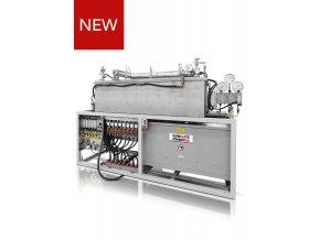 Na zakázku ručně řízená horizontální topná grafitová a izolovaná trubková pec do 2200 ° C, s integrovaným kompaktním rámem včetně přívodu plynu a vody a samostatnou skříňkou s regulátorem teploty