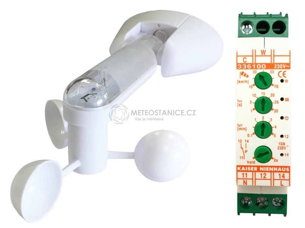 Senzor větru (anemometr) s nastavitelným relé na DIN lištu
