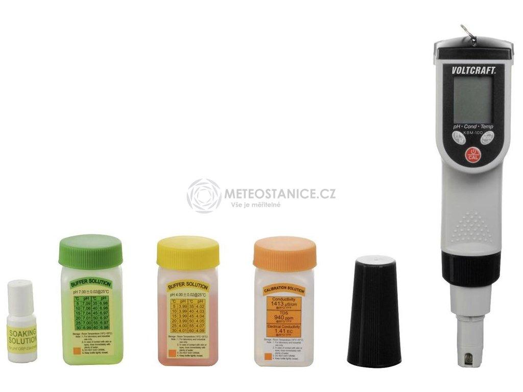 Multifunkční přístroj pro analýzu vody Voltcraft KBM-100, ph, vodivost, ORP, teplota