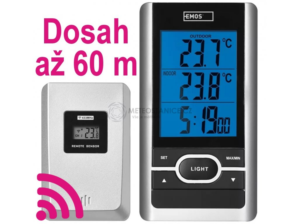 Digitální teploměr bezdrátový Emos E0107T | -50 až +70 °C | až 60 m