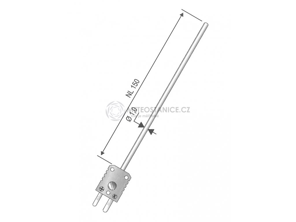 Teplotní čidlo, termočlánek K , průměr 1 mm, délka 150 mm