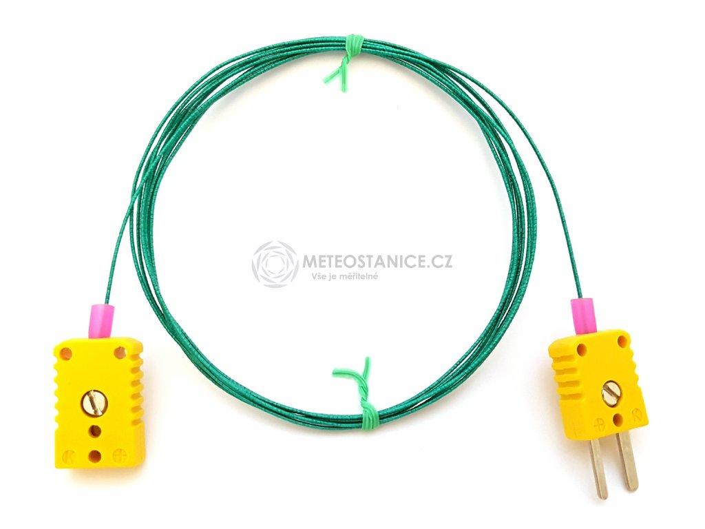 Tenké termočlánkové kompenzační vedení; 2 metry; skelná izolace