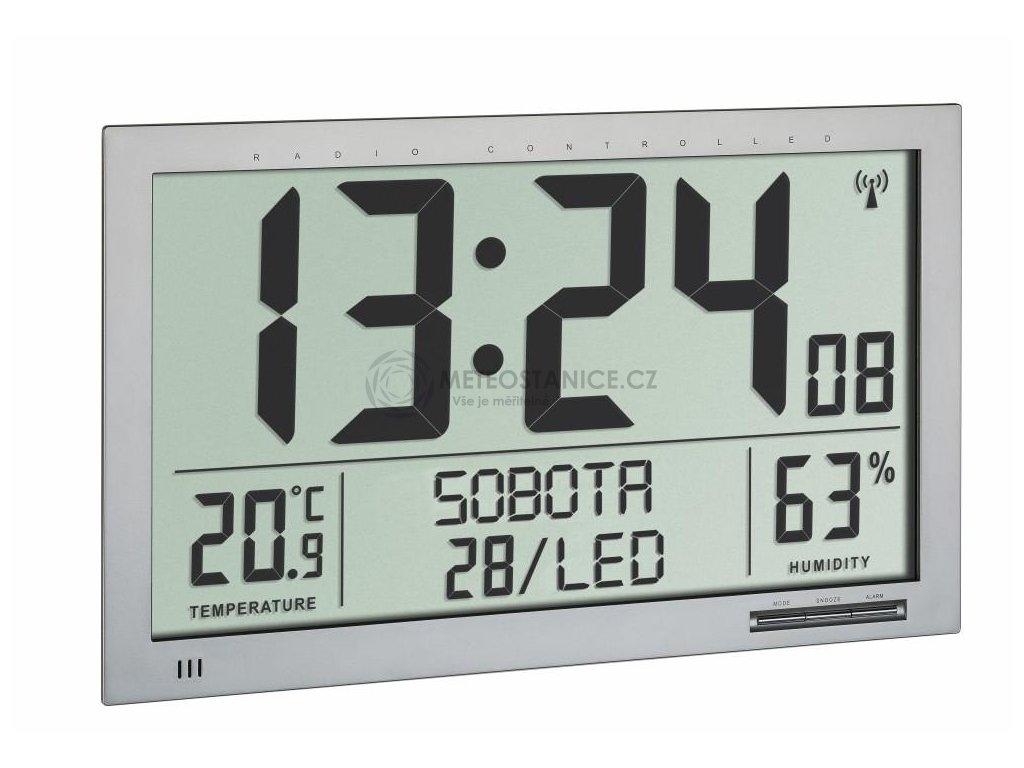 Nástěnné DCF hodiny TFA 60.4517.54 s češtinou a teploměrem/vlhkoměrem - velikost XL
