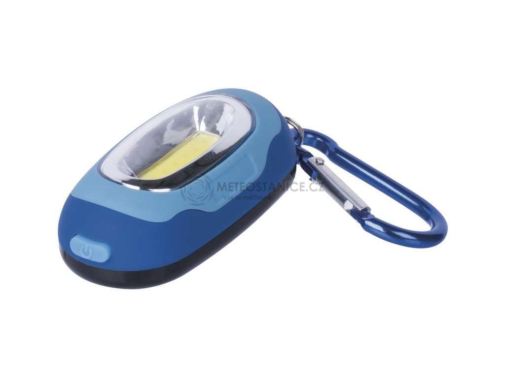 LED svítilna plastová modrá, 1x COB LED, na 2x CR2032