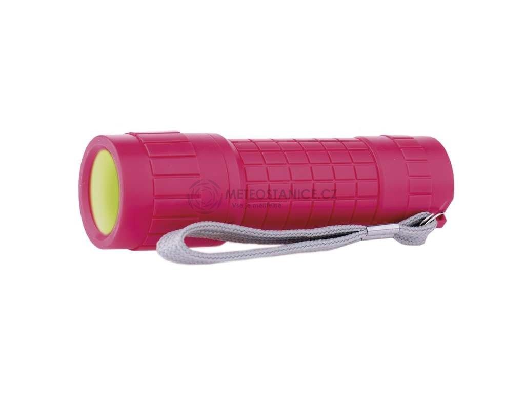 LED svítilna plastová růžová, 1x COB LED 1W, na 3x AAA