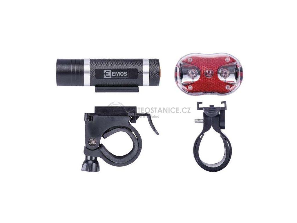 Svítilna na kolo SET 1+3x LED, na 3+2x AAA, přední+zadní, Emos P3920