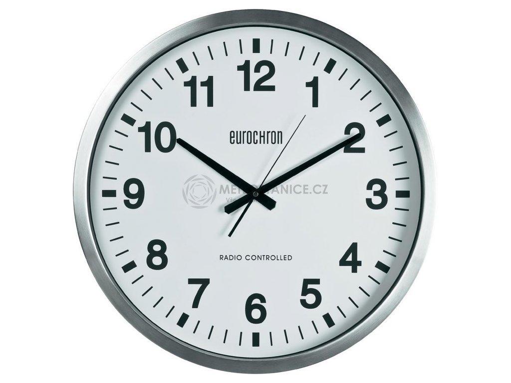 Velké nástěnné DCF hodiny Eurochron EFWU 9000, Ø 50,7 x 6,3 cm, stříbrná