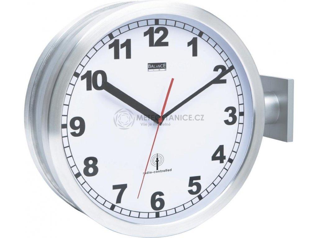 Oboustranné nádražní DCF hodiny 91764-47, Ø 40 cm, hliník