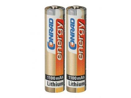 Lithiová baterie velikosti AAA - 1,5 V - 1100 mAh; 2 kusy