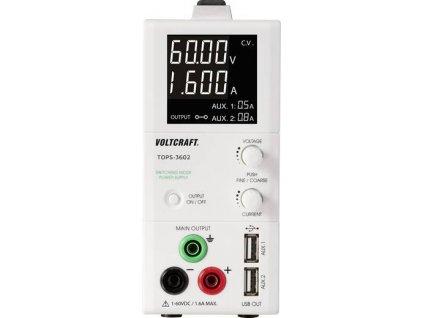Laboratorní zdroj s nastavitelným napětím VOLTCRAFT TOPS-3602, 1 - 60 V/DC, 0.25 - 1.6 A, 100 W
