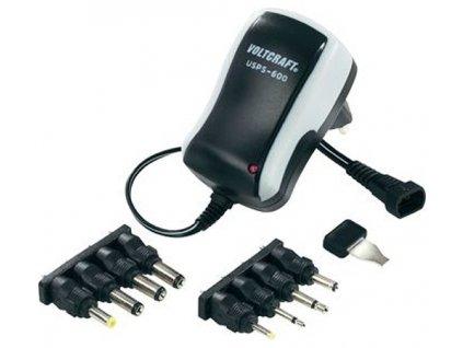 Síťový adaptér s redukcemi Voltcraft USPS-600, 3 - 12 V/DC, 7,2 W, černá