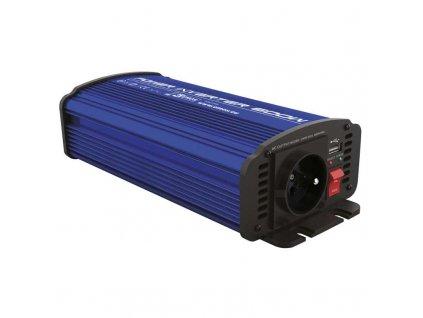 Měnič napětí 12V 230V, 600W, USB 2100 mA