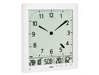 Nástěnné DCF hodiny TFA 60.4515.02 s češtinou a teploměrem/vlhkoměrem