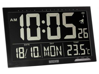 Inverzní DCF nástěnné hodiny Eurochron EFWU Jumbo 101; 368 x 229 x 30 mm; černá