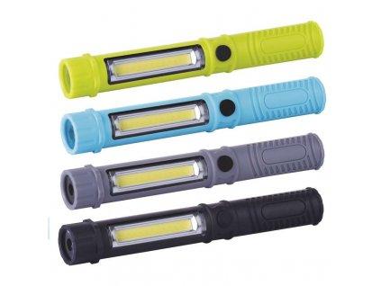 LED svítilna plastová, 3W COB LED + 1x LED, na 3x AAA - černá