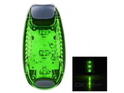 Bezpečnostní zelené LED světlo s klipem pro snadné uchycení na pásek i kolo