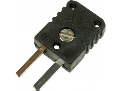 """Miniaturní termočlánkový konektor """"J""""; zástrčka; černá; 0,5 mm²"""