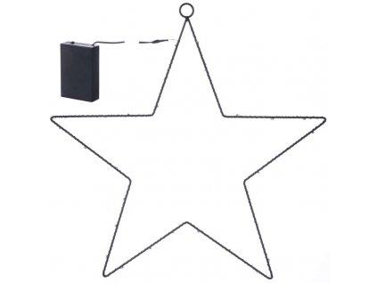 LED vánoční hvězda kovová, 3xAA, teplá bílá, časovač | ZY1962