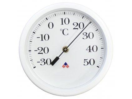 Velký nástěnný bimetalový teploměr, průměr 225 mm - bílý