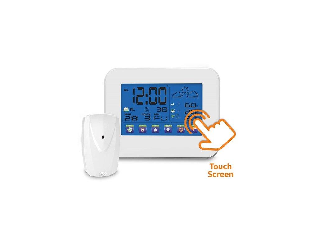 Solight meteostanica, veľký dotykový farebný LCD, vnútorná/venkovná teplota, vlhkosť, RCC, biela
