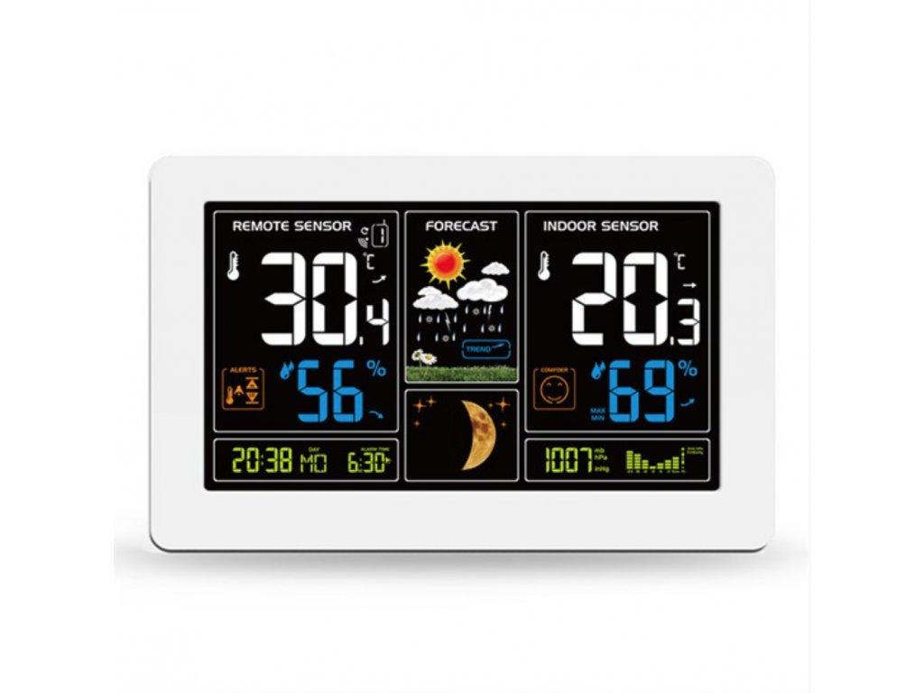 Meteostanica Solight, extra veľký farebný LCD displej, biela