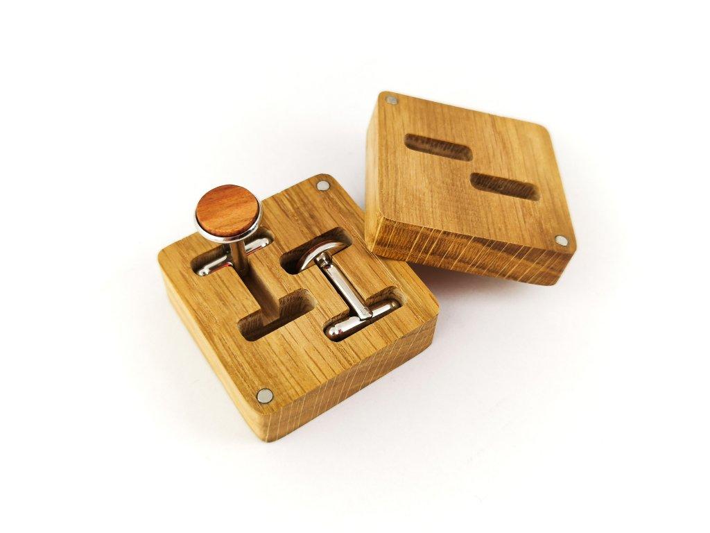 Dřevěné manžetové knoflíčky - ŠVESTKA IV