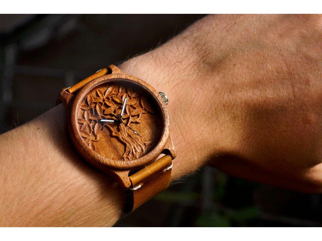 Dřevěné hodinky 3D - Strom života II