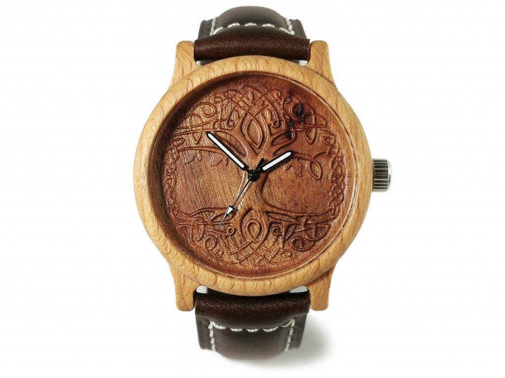 Dřevěné hodinky 3D - Strom života III