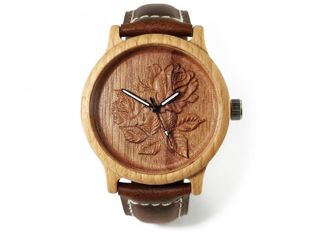 Dřevěné hodinky 3D - Růže květ