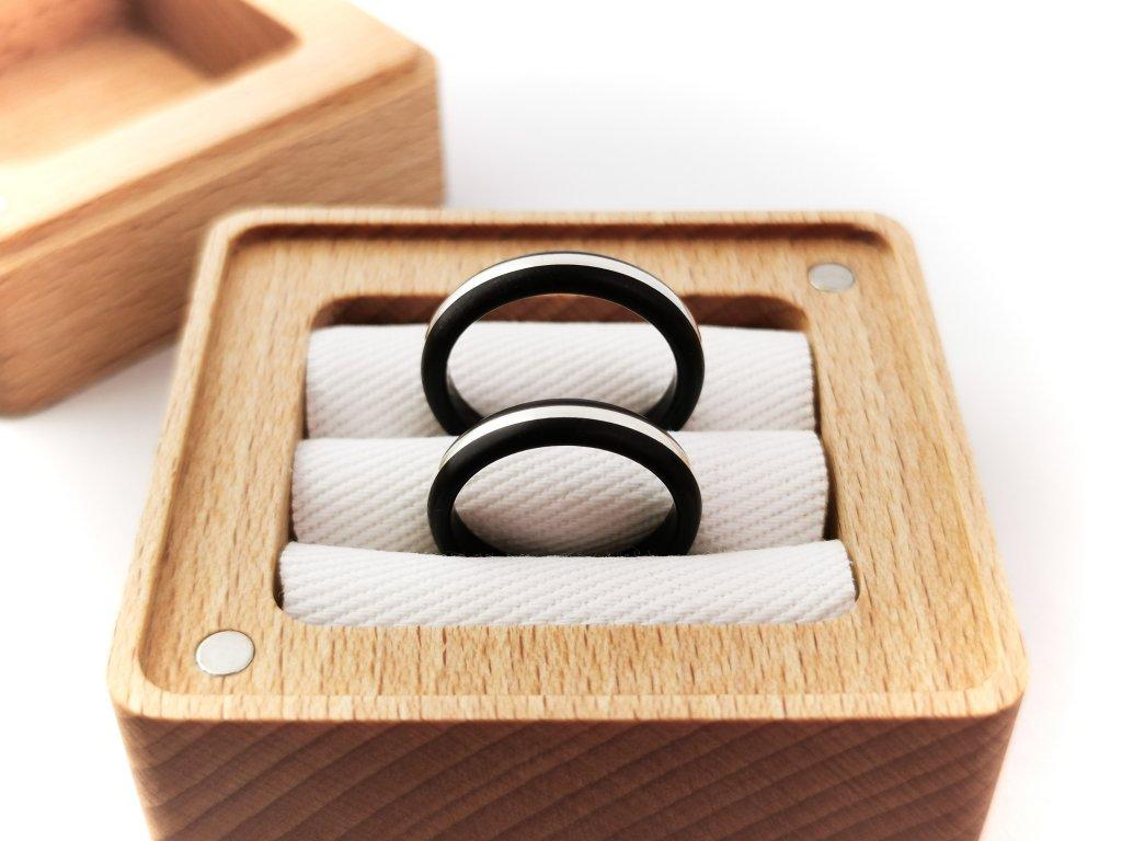 Dřevěná krabička na prstýnky DUO