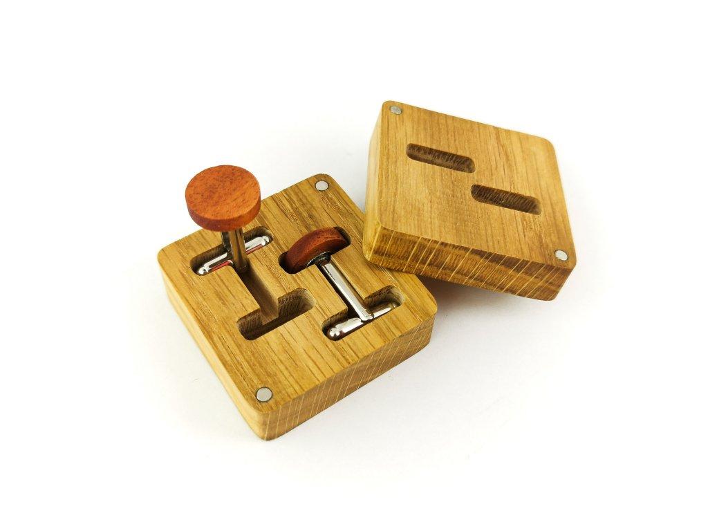Dřevěné manžetové knoflíčky - ŠVESTKA I