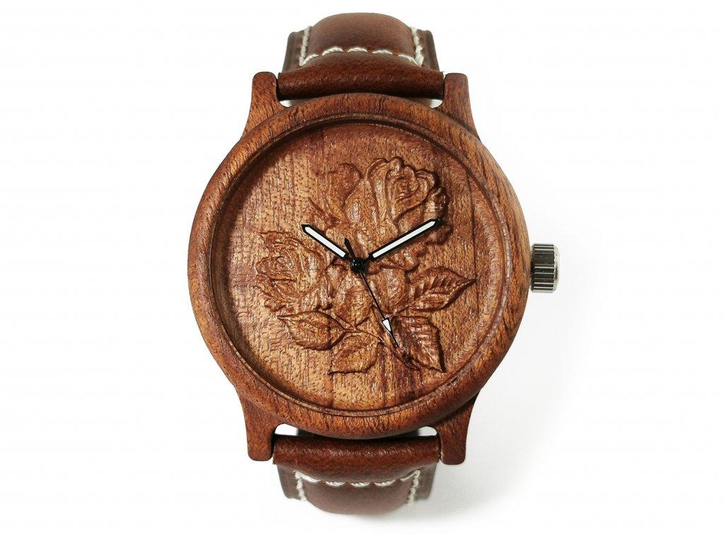 Dřevěné hodinky 3D - Růže květ II