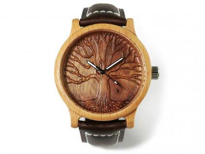 Dřevěné hodinky 3D - Strom života I