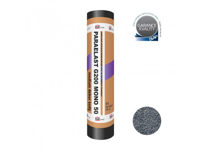Asfaltový pás - Paraelast G200 MONO 50 medium dekor šedý