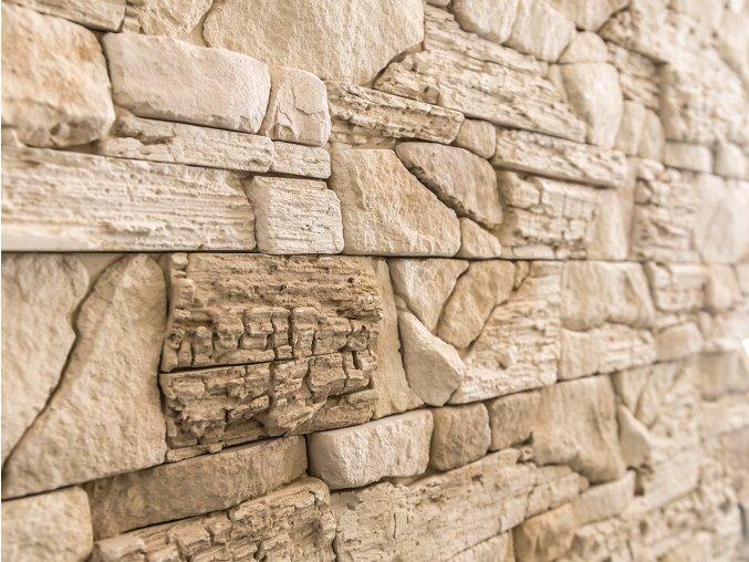 Kamenný obklad NUEVO krémovo hnědá 380x100x25 mm Sádra  balení 0,46m2