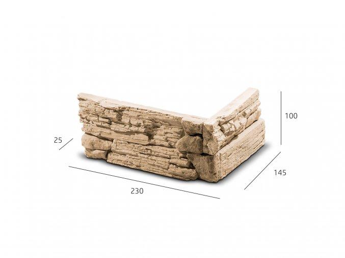 ROH Kamenný obklad NUEVO   krémovo hnědá 230x145x100x25 mm Sádra  balení 1,2bm