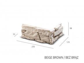 ROH Obkladový kámen DAFINA béžovo hnědá 235x125x98x35 mm Beton balení 1,18bm