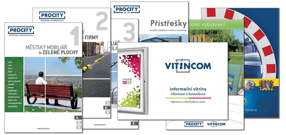 Katalogy Procity, Vitincom a Vialux - městský mobiliář, informační vitríny a dopravní zrcadla