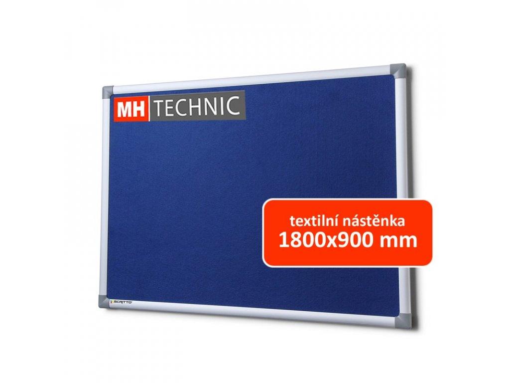 Textilní nástěnka 1800x900 mm, modrá