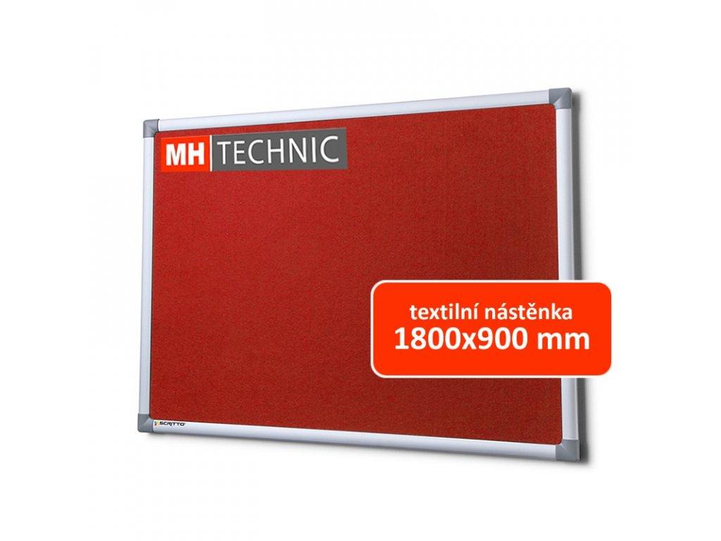 Textilní nástěnka 1800x900 mm, červená