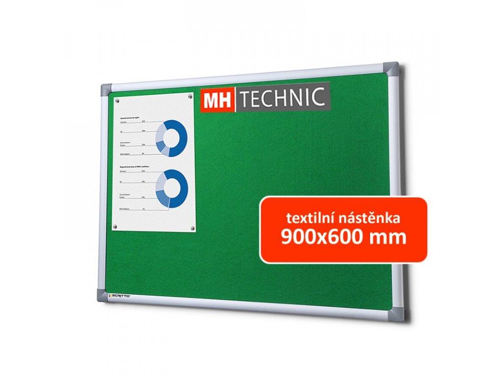 Textilní nástěnka 900x600 mm, zelená